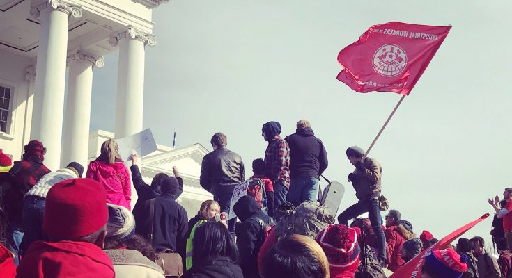 Teachers Rally in Richmond Virginia, including IWW members