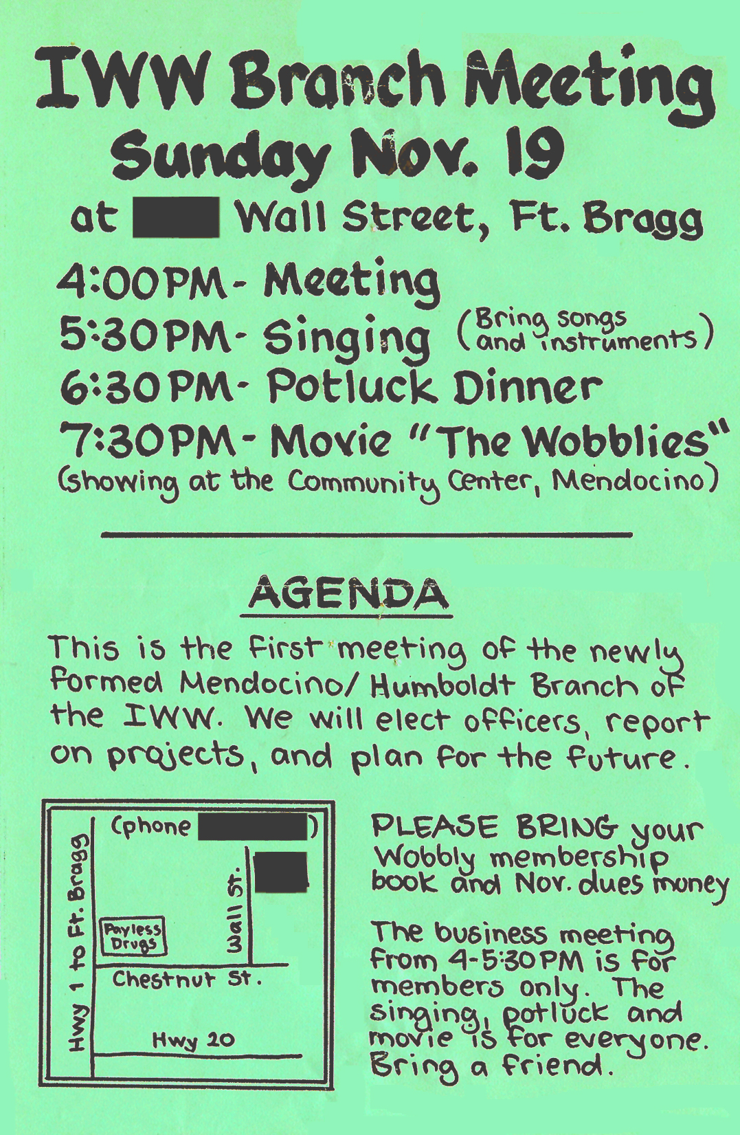 IWW Leaflet, hand drawn by Judi Bari, September 1989